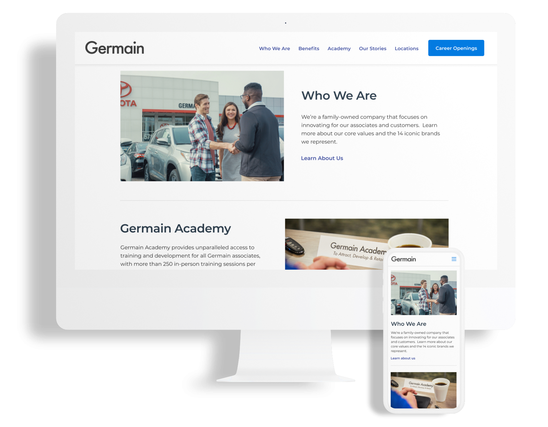 Desktop and mobile phone displaying UX designs of Germain's career site main page