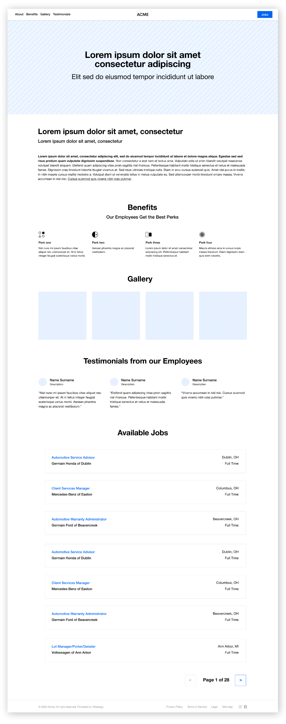 A wireframe example of a full page desktop career site built out of blocks